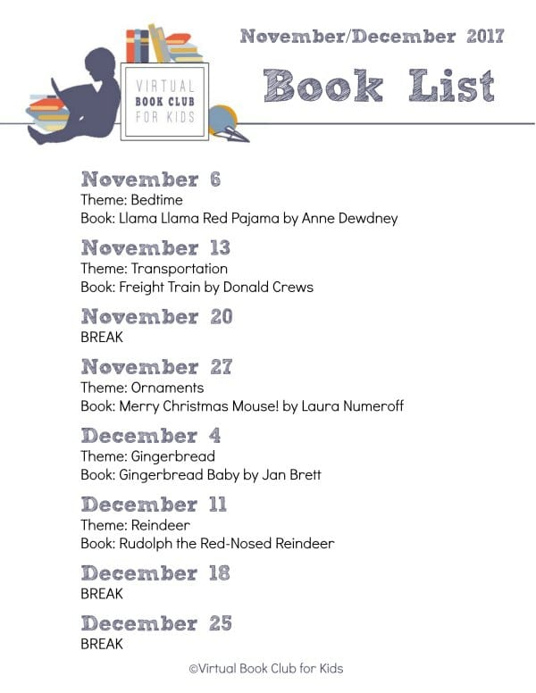 VBC BOOK LIST for November and December 2017