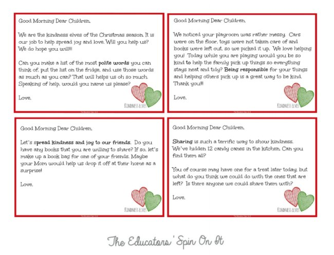 Downloadable Kindness Elves Letters
