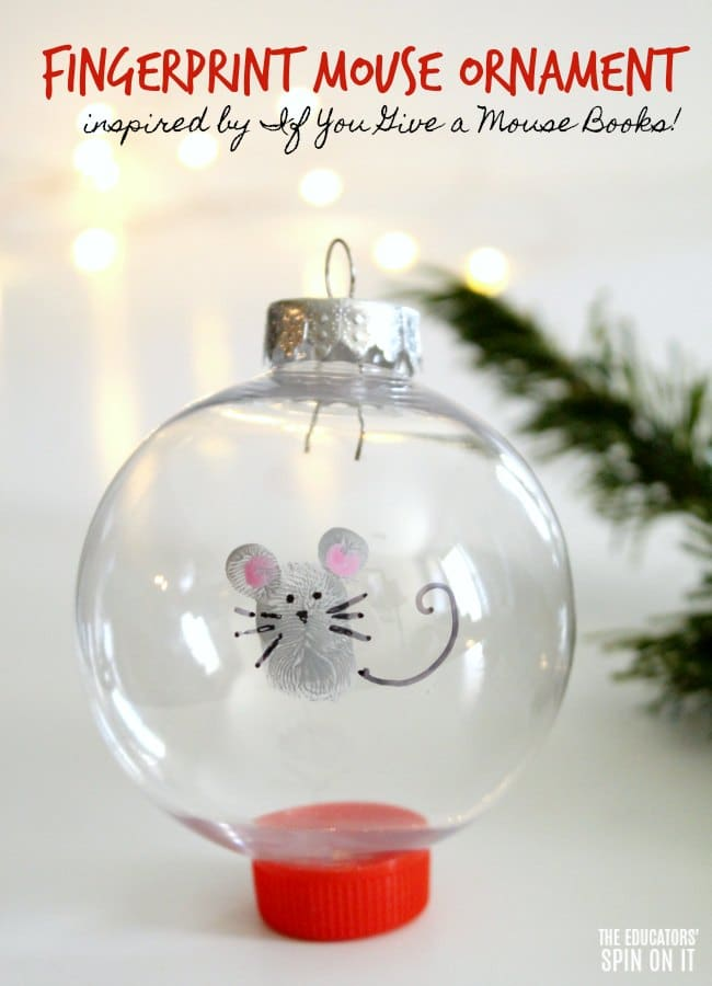Fingerprint Mouse Themed Ornament for Kids to Make for Christmas