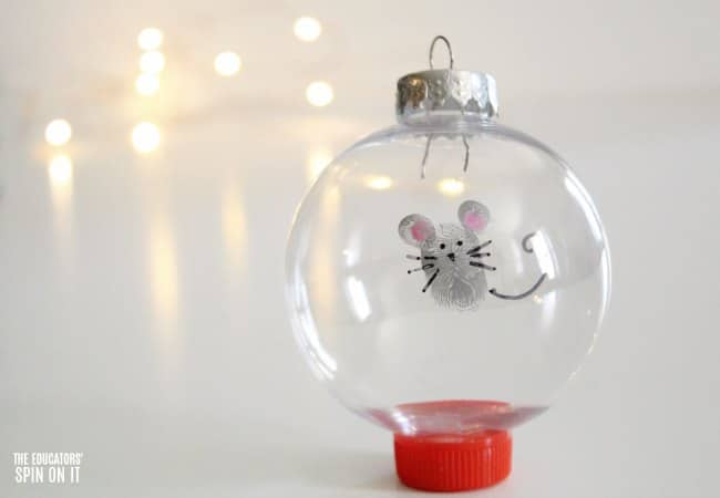 Fingerprint Mouse Themed Ornament for Kids to Make