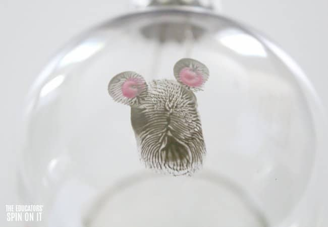 Fingerprint Mouse Themed Ornament inspired by If You Give a Mouse a Cookie