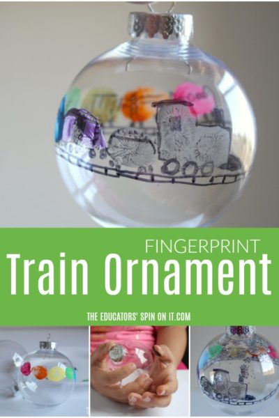 Fingerprint Train Ornament for Kids