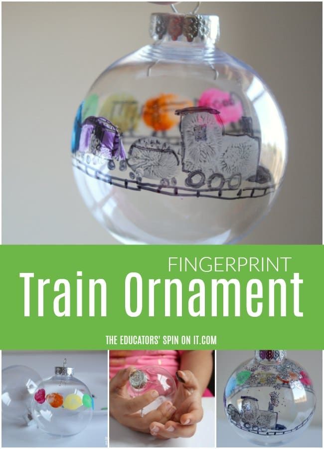 Fingerprint Train Ornament inspired by Freight Train for Kids