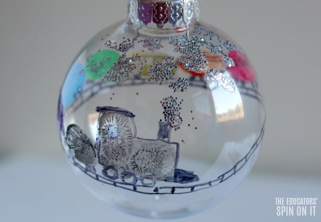 Glitter Train Ornament with Fingerprint Train for Kids