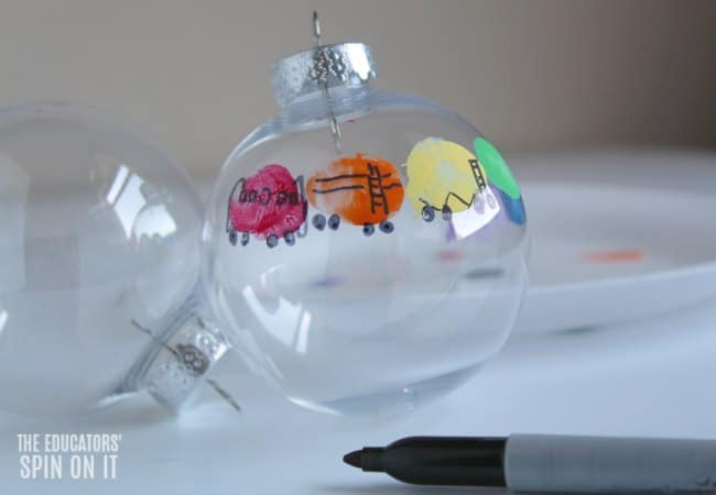 Train Ornament with Fingerprints for Kids