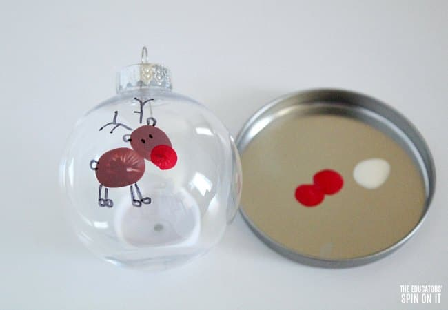 Fingerprint Reindeer Ornament Idea for Christmas