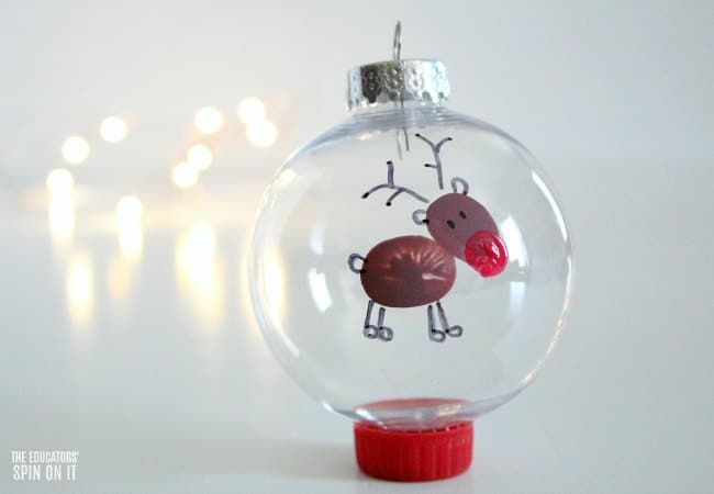 Fingerprint Reindeer Ornament for Kids for Christmas Tree or Handmade Gift Idea