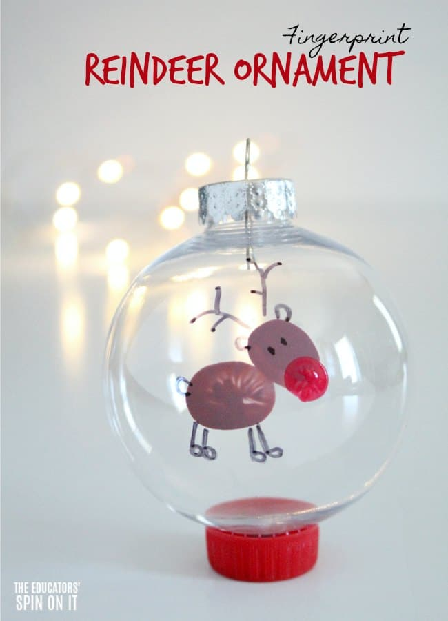 Fingerprint Reindeer Ornament for Preschoolers for Christmas