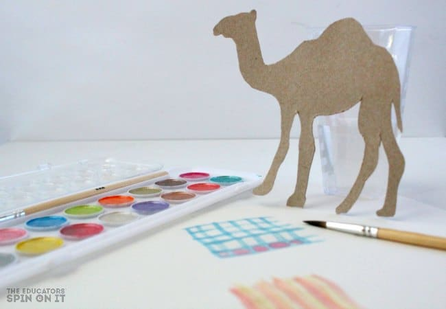Camel Art Project with Water Colors for The Wooden Camel Book for kids
