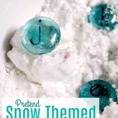 Snow Themed Alphabet Sensory Bin