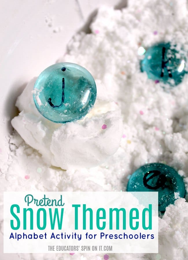 Pretend Snow Themed Alphabet Activity for Preschoolers