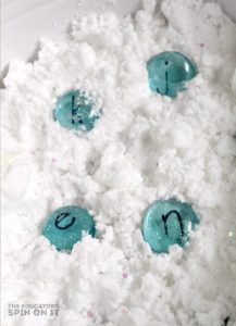Pretend Snow Themed Sensory Bin with Alphabet Activity