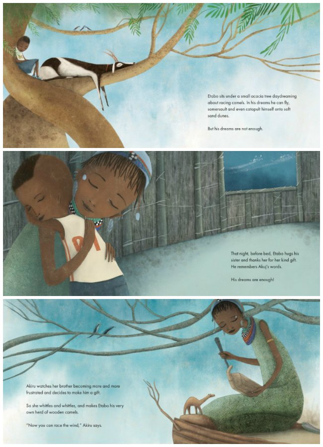 Page Excerpts from The Wooden Camel by Wanuri Kahiu and illustrated by Manuela Adreani