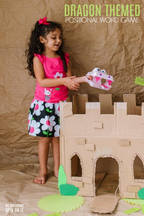Egg Carton Dragon over Cardboard Castle with Preschooler
