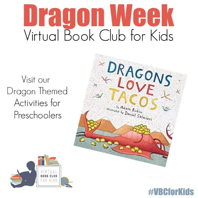 Dragons Love Tacos Book cover with Dragon Themed Activities for Preschoolers