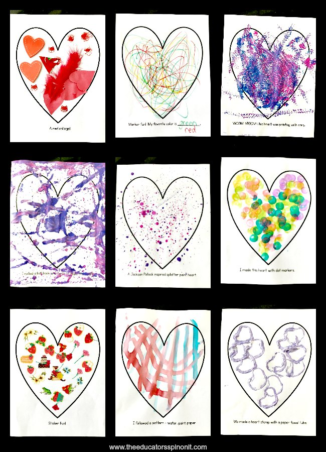Easy Heart Art Projects for Preschool and Toddlers. Great for Valentine's Day