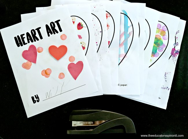 Heart Art completed projects for preschool and toddlers. Valentine's Day art for kids