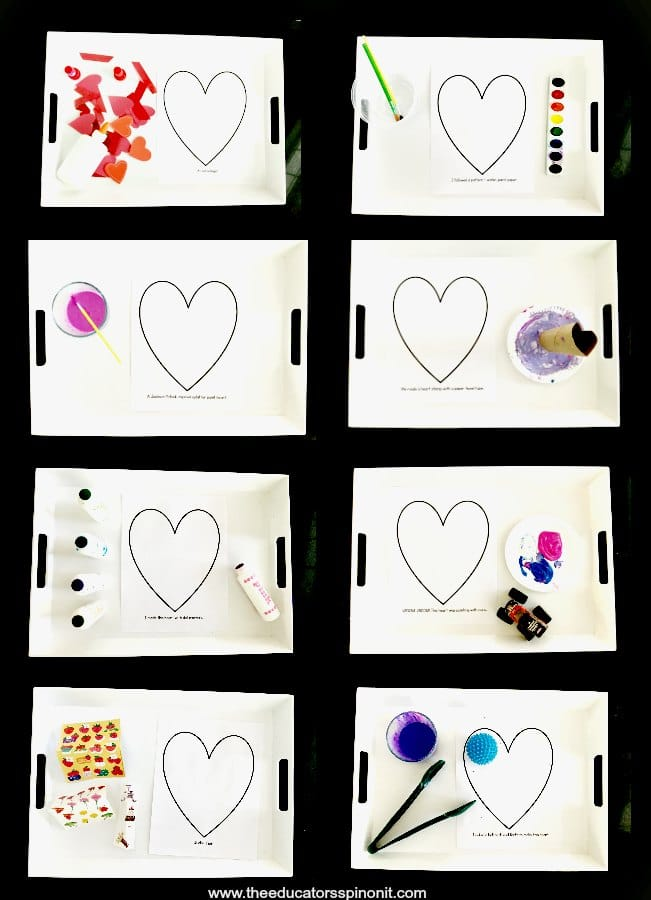 Setting up Heart art Projects for preschool and toddlers using trays
