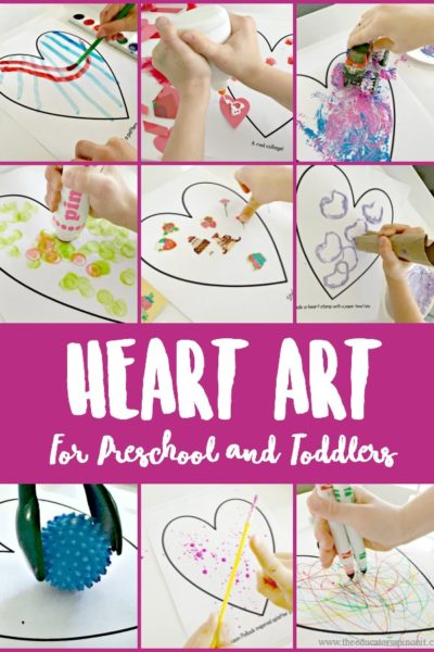 Fun and Easy heart art projects for preschool and toddlers to make, art, art projects, open ended art projects for Valentine's Day