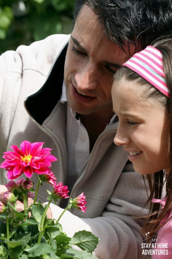 Father and daughter in garden planting pink flowers