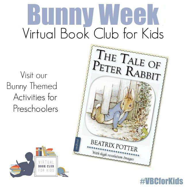 Book Cover of The Tale of Peter Rabbit with Bunny Week for Virtual Book Club for Kids