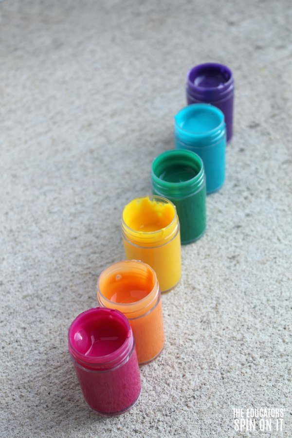 Jars of Paint for Rainbow Painting with Kids