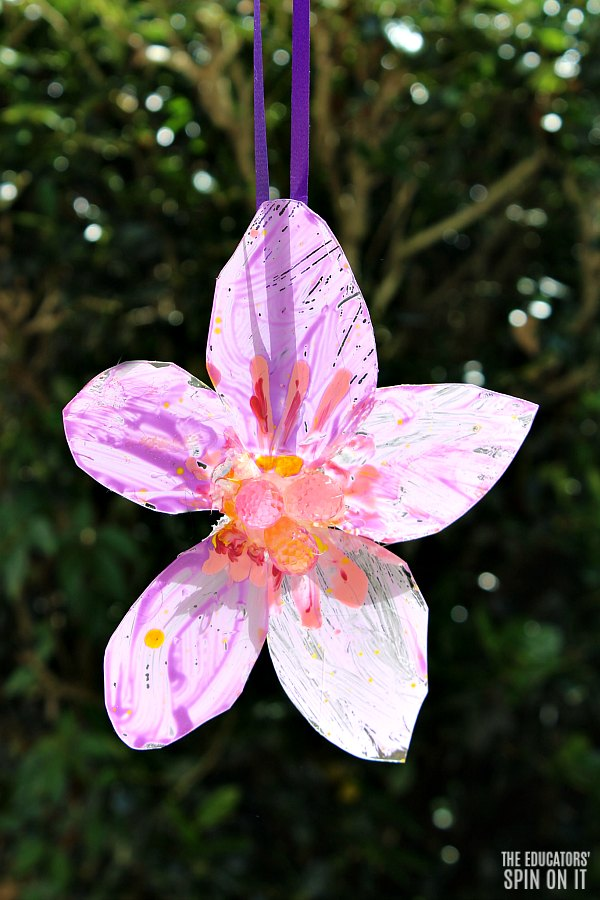 DIY Painted Flower Craft for Kids Using Recycled Plastic
