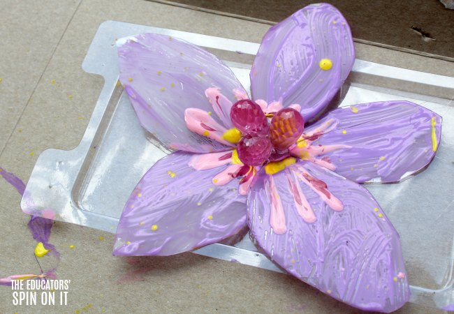 DIY Painted Flower Craft for Kids with Recycled Plastic