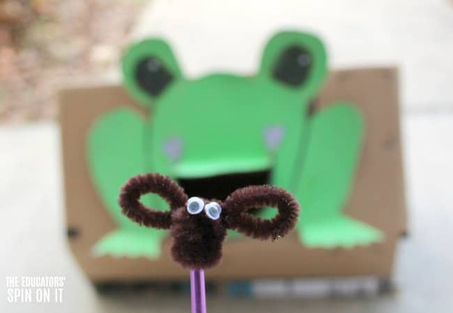Frog Themed Toss Game for Preschooler with Pipe Cleaner Bugs Craft