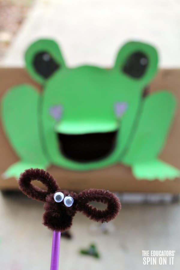 Frog Themed Toss Game for Preschoolers with Pipe Cleaner Bugs