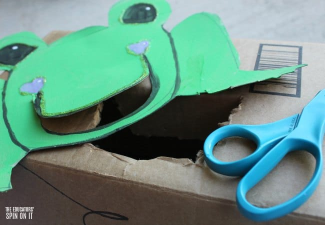Frog Themed Toss Game for Preschoolers with Recycled Box