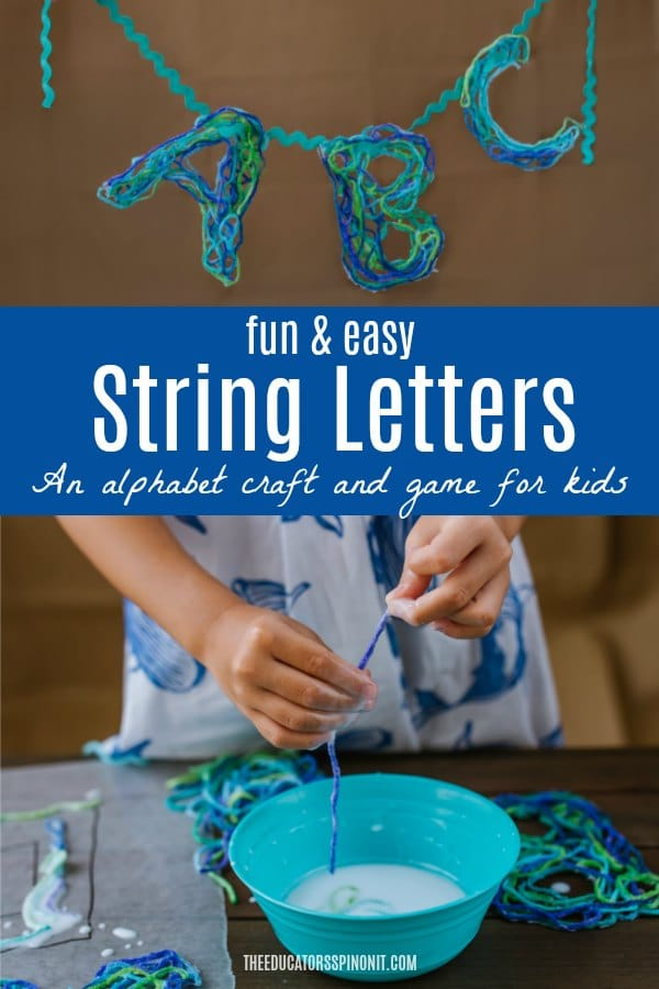 Fun and Easy String Letters - an alphabet craft and game for kids