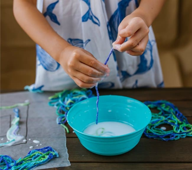 Making String Letters with Glue and Yarn with Kids for ABC Game