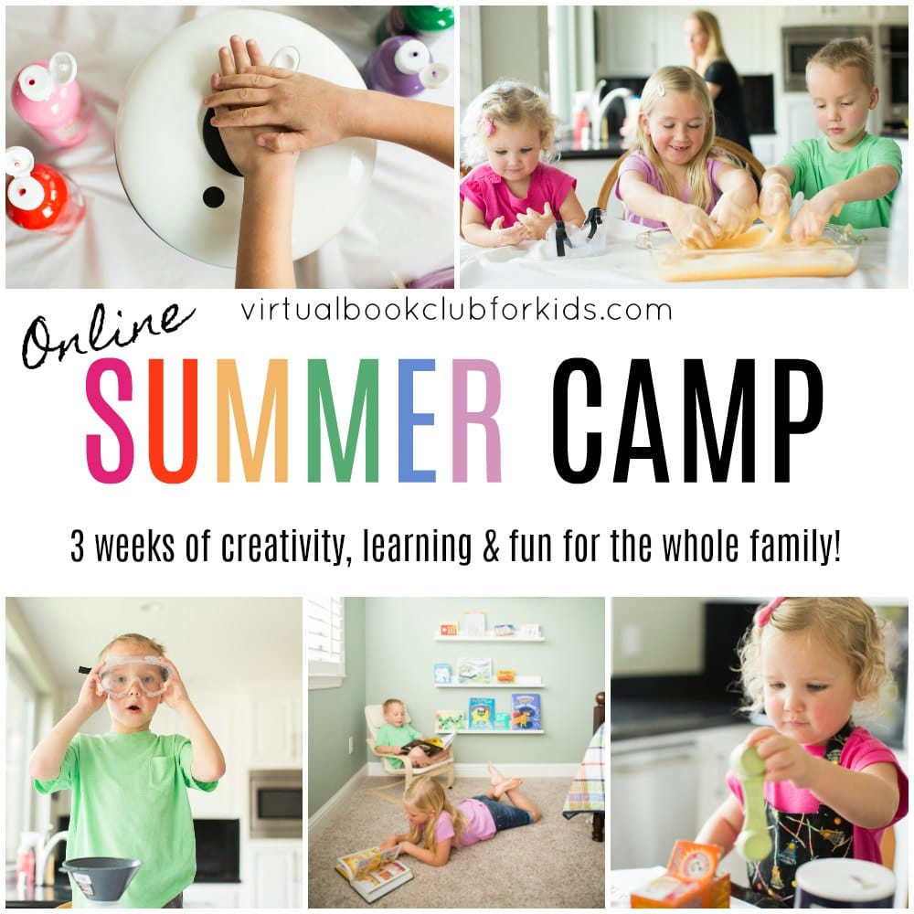Kids participating in fun, creative, book inspired activities for online summer camp with family