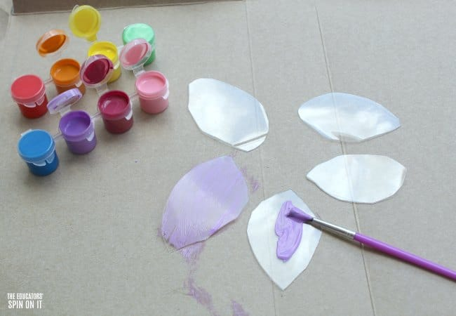 Painted Flower Craft for Kids with Recycled Plastic