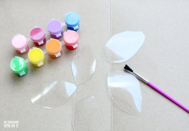 Painting Recycled Plastic to Create Flower Craft for Kids