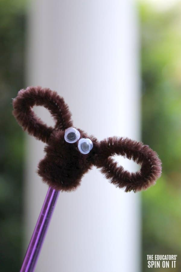 Pipe Cleaner Insect for Frog Themed Game with Kids