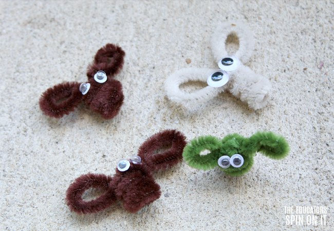 Pipe Cleaner Insects for Frog Themed Toss Game for Preschoolers