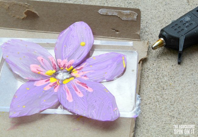 Using Hot Glue to Assemble Painted Flower Craft for Kids