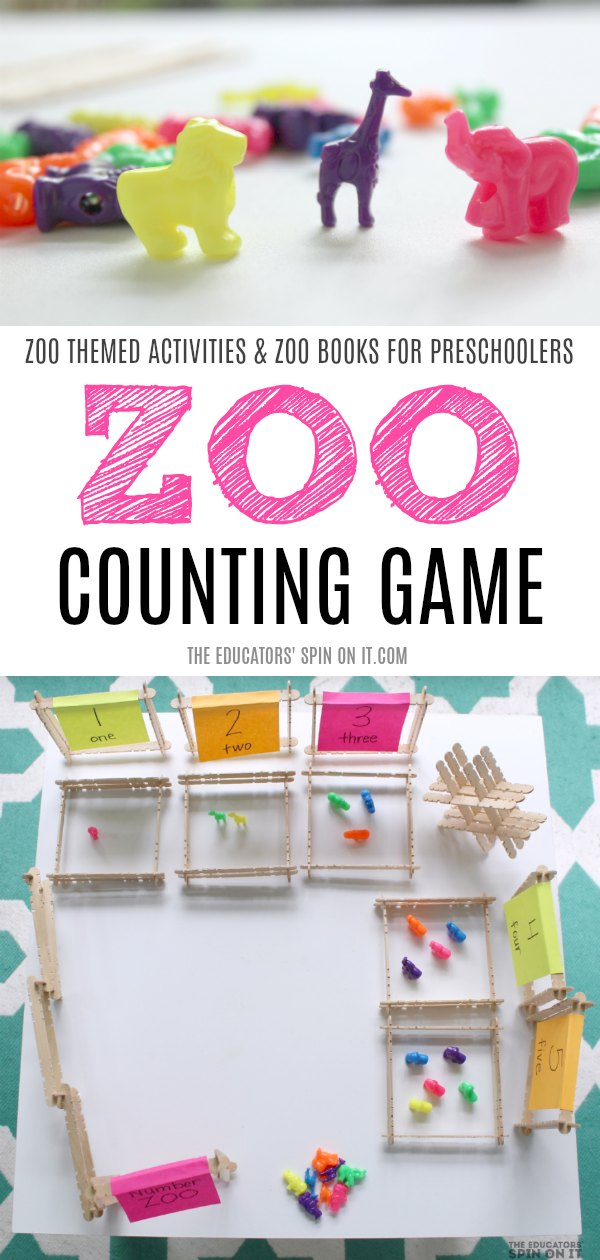 Zoo Counting Game for Preschoolers with Popsicle Stickers and Zoo Beads