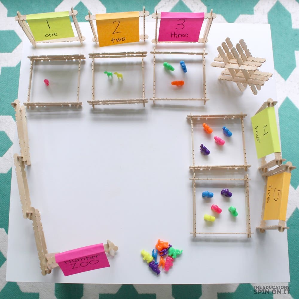 Zoo Themed Math Game for Preschoolers with Popsicle Sticks