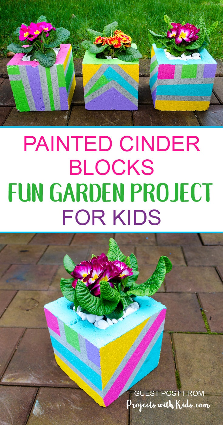 Painted Cinder Blocks with flowering plant planted inside created by kids