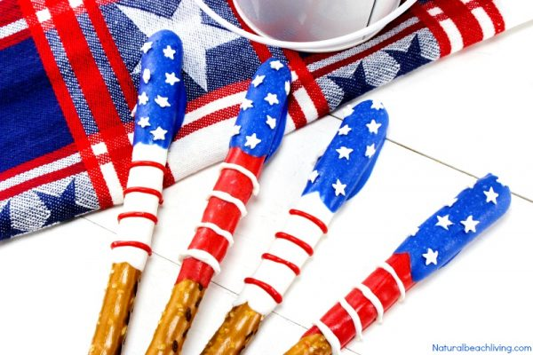 Chocolate Covered Pretzels for 4th of July