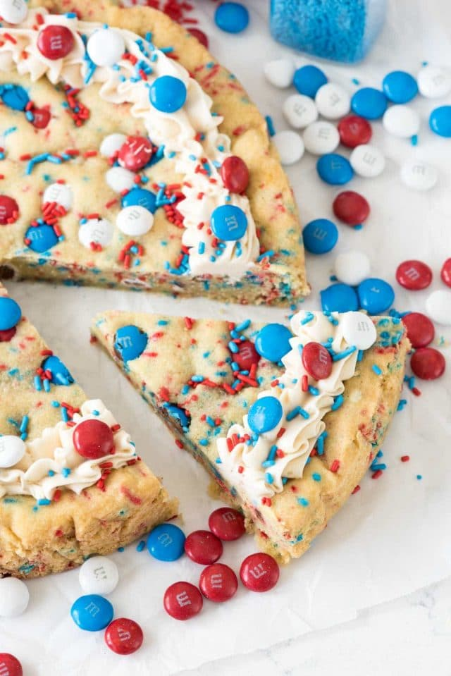 Fireworks Cookie Cake with Red, White and Blue for 4th of July