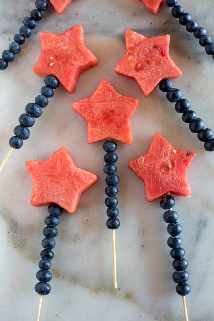 Patriotic Fruit Sparkler for 4th of July Snack Idea