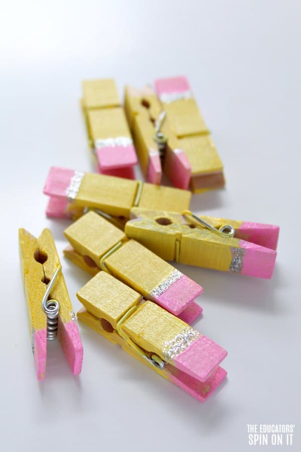 Painted Pencil Themed Clothespins for Back to School Literacy Fun