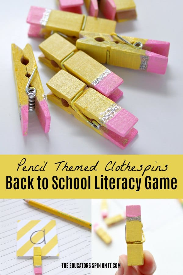 Pencil Themed Clothespins for Games for Kids