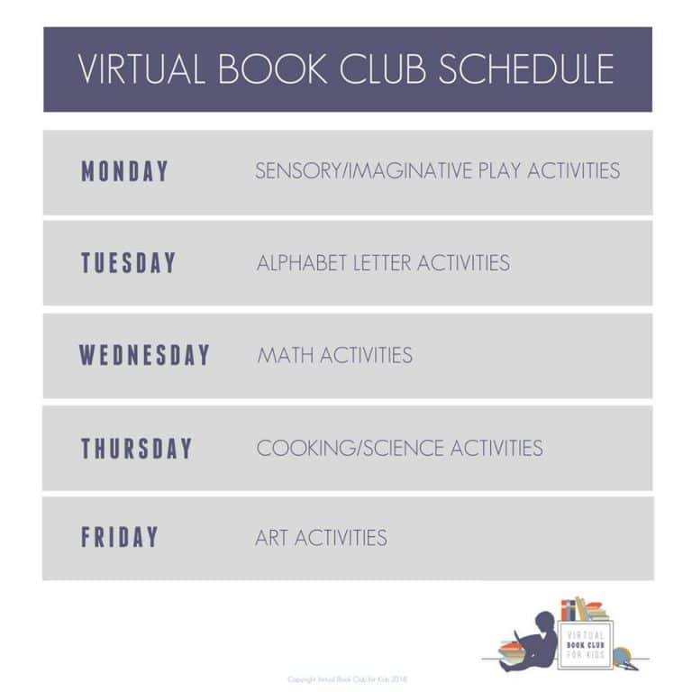 Weekly Schedule for Virtual Book Club for kids Activities
