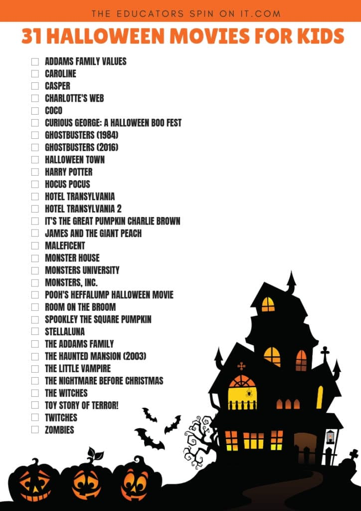 31 Halloween Movies for Kids Checklist