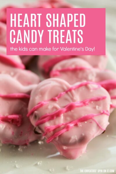 Heart Shaped Candy Treats Using Pretzels and White Chocolate Candy Pieces with Sprinkles
